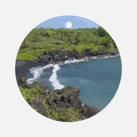 Black Sand Beach Maui Ornament (Round)