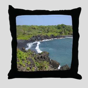 Black Sand Beach Maui Throw Pillow