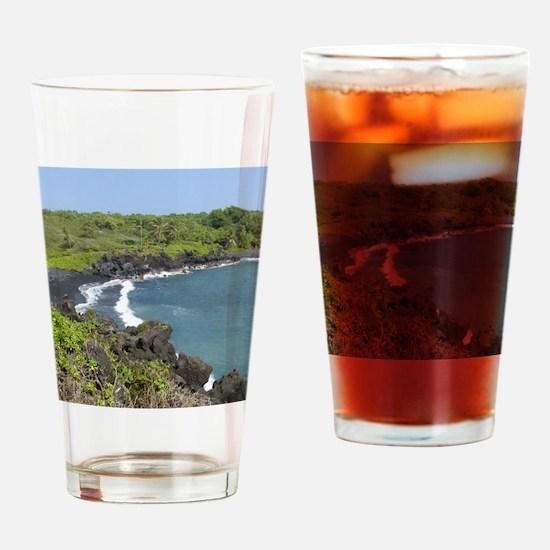 Black Sand Beach Maui Drinking Glass