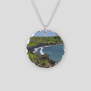 Black Sand Beach Maui Necklace Circle Charm