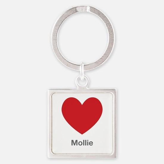Mollie Big Heart Square Keychain