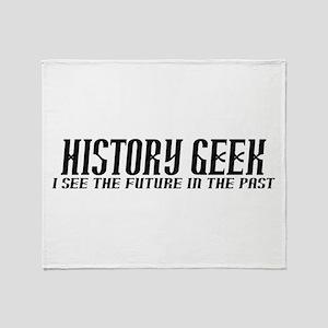 History Geek Future in Past Throw Blanket