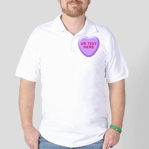 Grape Candy Heart Personalized Golf Shirt