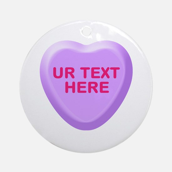 Grape Candy Heart Personalized Ornament (Round)