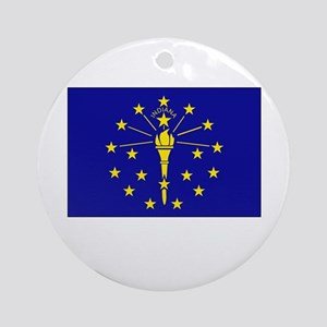 Indiana Flag Picture Ornament (Round)
