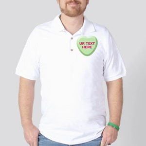 Lime Candy Heart Personalized Golf Shirt