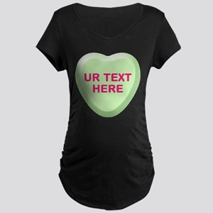 Lime Candy Heart Personalized Maternity Dark T-Shi