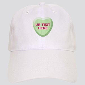 Lime Candy Heart Personalized Cap