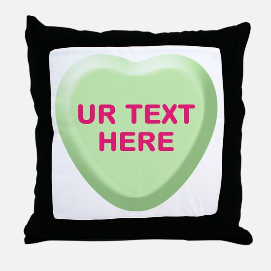 Lime Candy Heart Personalized Throw Pillow