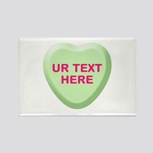Lime Candy Heart Personalized Rectangle Magnet (10