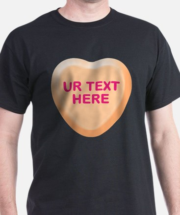 Orange Candy Heart Personalized T-Shirt