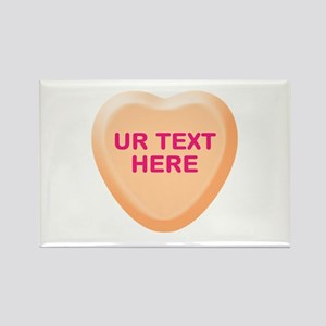 Orange Candy Heart Personalized Rectangle Magnet (