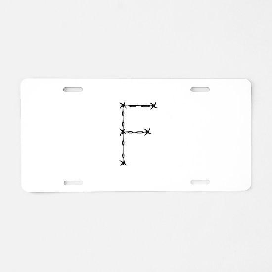 Barbed Wire Monogram F Aluminum License Plate
