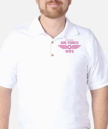 Proud Air Force Wife W [pink] Golf Shirt