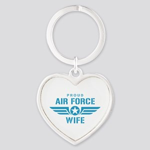 Proud Air Force Wife W Heart Keychain