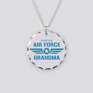 Proud Air Force Grandma W Necklace Circle Charm