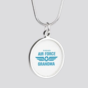 Proud Air Force Grandma W Silver Round Necklace