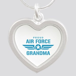 Proud Air Force Grandma W Silver Heart Necklace