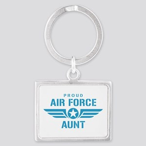 Proud Air Force Aunt W Landscape Keychain