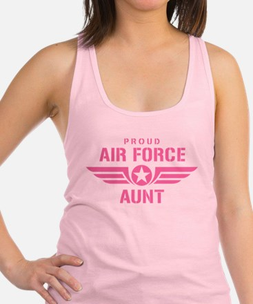 Proud Air Force Aunt W [pink] Racerback Tank Top