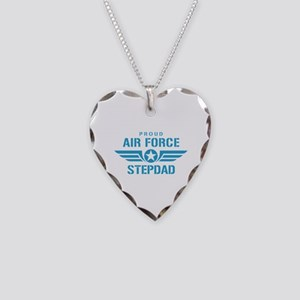 Proud Air Force Stepdad W Necklace Heart Charm