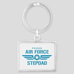 Proud Air Force Stepdad W Landscape Keychain