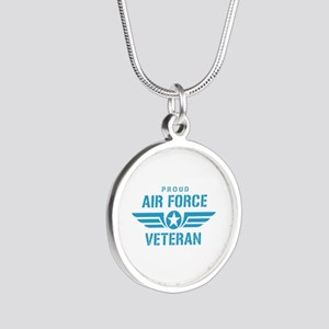 Proud Air Force Veteran W Silver Round Necklace