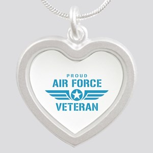 Proud Air Force Veteran W Silver Heart Necklace