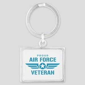 Proud Air Force Veteran W Landscape Keychain