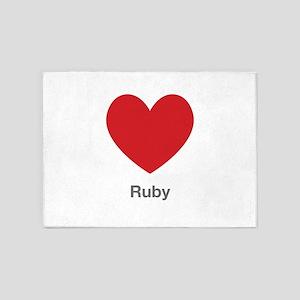 Ruby Big Heart 5'x7'Area Rug