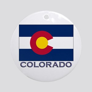 Colorado Flag Gear Ornament (Round)