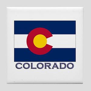 Colorado Flag Gear Tile Coaster