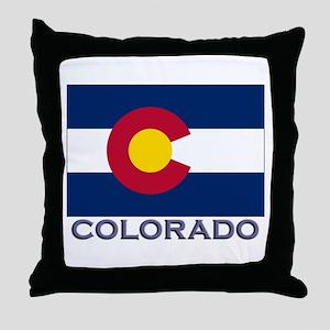 Colorado Flag Gear Throw Pillow