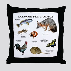 Delaware State Animals Throw Pillow