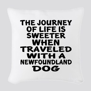 Traveled With Newfoundland Dog Woven Throw Pillow