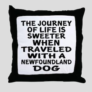 Traveled With Newfoundland Dog Design Throw Pillow