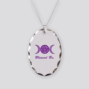 Blessed Be (Purple) Necklace Oval Charm