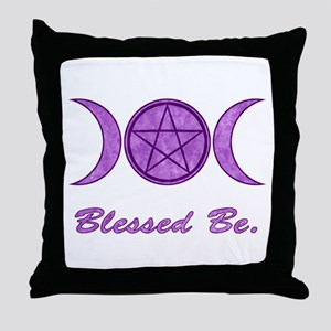Blessed Be (Purple) Throw Pillow