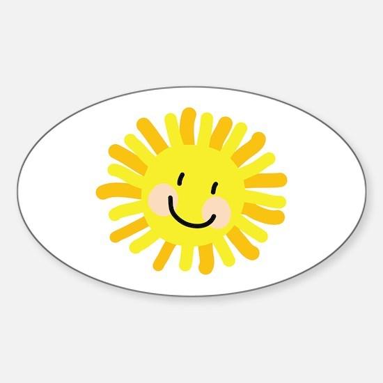 Sun Child Drawing Sticker (Oval)