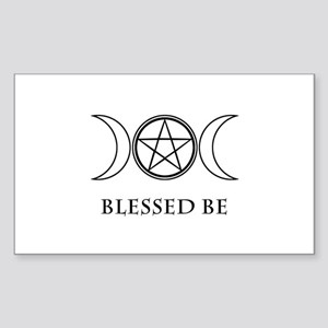 Blessed Be (Black & White) Sticker (Rectangle)