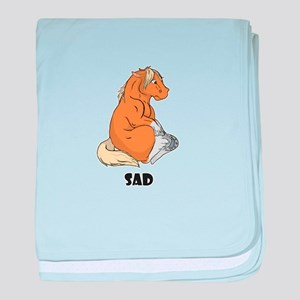 Sad little horse baby blanket