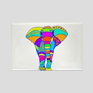 Elephant Colored Designed Rectangle Magnet
