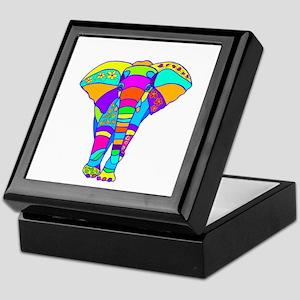 Elephant Colored Designed Keepsake Box