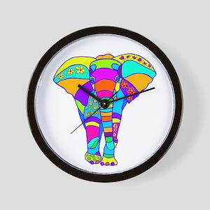 Elephant Colored Designed Wall Clock