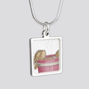 HappyHoppers® - Bunny - Silver Square Necklace