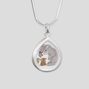 Bunny Kisses Silver Teardrop Necklace