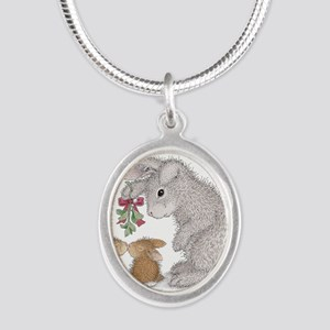Bunny Kisses Silver Oval Necklace