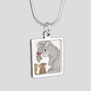 Bunny Kisses Silver Square Necklace