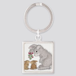 Bunny Kisses Square Keychain
