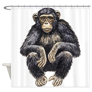 chimpanzee drawing shower curtains cafepress